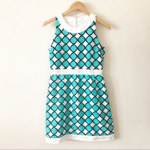 Julie Brown Turquoise and White Dress sz 4